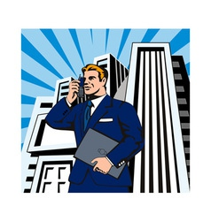 Businessman on the phone with laptop vector