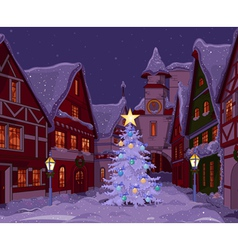 Christmas night at town vector