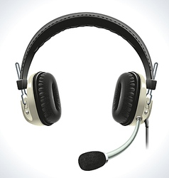 Old headphones with microphone vector