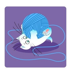 White cat playing with ball of yarn vector