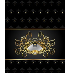 Gold floral packing with heraldic element - vector