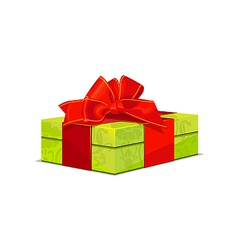 Beautiful green wedding gift box with a red bow vector