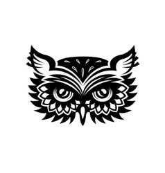 Wise old horned owl head vector