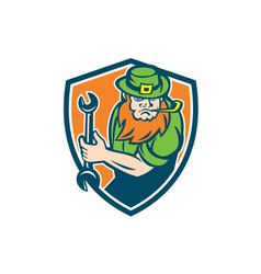 Leprechaun mechanic spanner shield retro vector