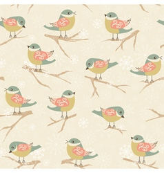 Winter background with birds vector