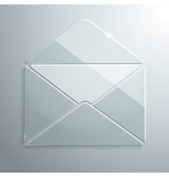 Glass icon of an open envelope vector