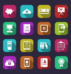 Colorful business and office objects flat icons vector