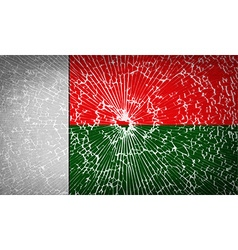 Flags madagascar with broken glass texture vector