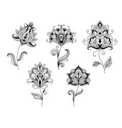 Black and white floral motifs in persian style vector
