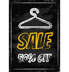 Sale clothes rack chalk vector