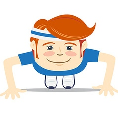 Hipster funny doing push-ups flat style vector