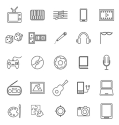 Entertainment line icons on white background vector