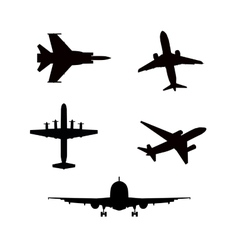 Silhouette airplanes airbus or plane vector