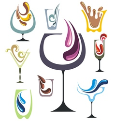 Drink icons set vector