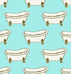 Sketch bathtub in vintage style vector