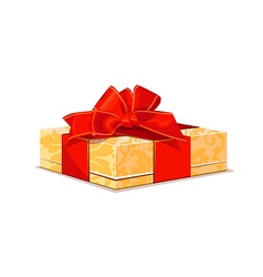 Beige gift with red bow vector