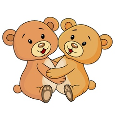 Cute bear embrace each other vector