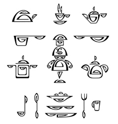Cook and dishes vector