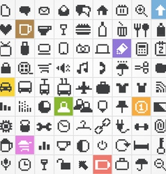 Pixel web icons collection vector
