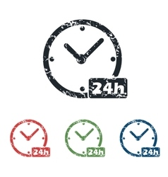 24h workhours grunge icon set vector