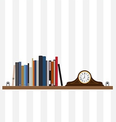 Books on shelf and table clock vector
