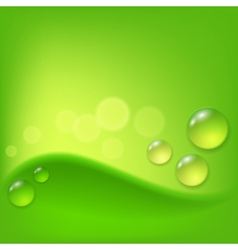 Green abstract background with drop of dew vector