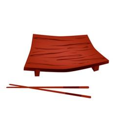 Beautiful geta plate or wooden sushi board vector