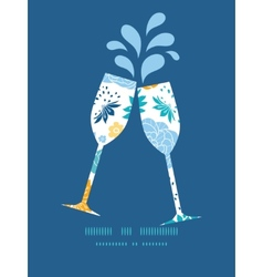 Blue and yellow flowersilhouettes toasting vector