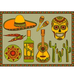 Set traditional mexican symbols vector