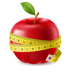 Red apple and measure tape vector