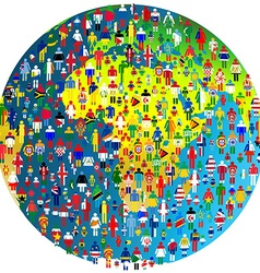 Peace concept with earth globe and people vector
