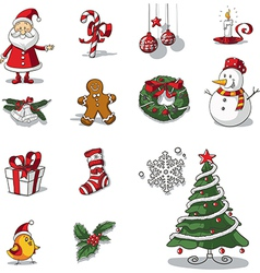 Christmas graphic elements hand drawn vector