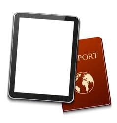 Modern computer tablet with passport vector