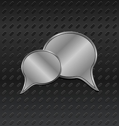 Shiny metallic speech bubbles on aluminum backgrou vector