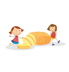 Girls and bread vector