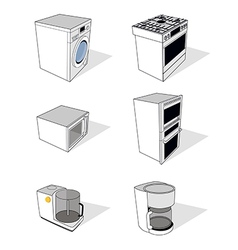 Household appliances set vector