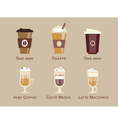 Coffee icon set menu coffee beverages types vector