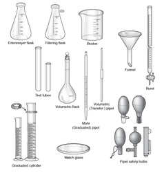 Common laboratory glassware vector