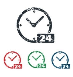24 workhours grunge icon set vector