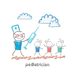 Pediatrician with a syringe runs for children vector