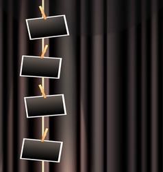 Photo frame and black curtain vector