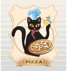 Cat and pizza vector