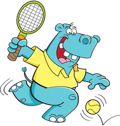 Cartoon hippo playing tennis vector