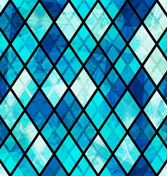 Blue mosaic seamless pattern with grunge effect vector