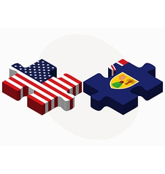 Usa and turks and caicos islands flags in puzzle vector