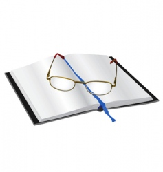 Reading glasses on a book vector