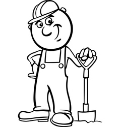 Worker with spade coloring page vector