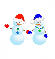 Couple snowmen vector