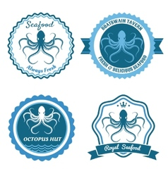 Octopus sea food logo or badge set vector