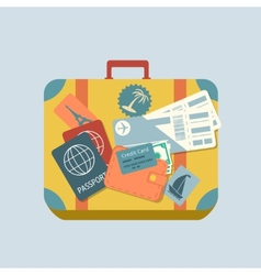 Travel suitcase with stickers vector